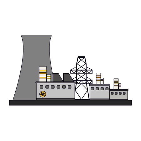 Nuclear plant building with machinery vector illustration graphic design