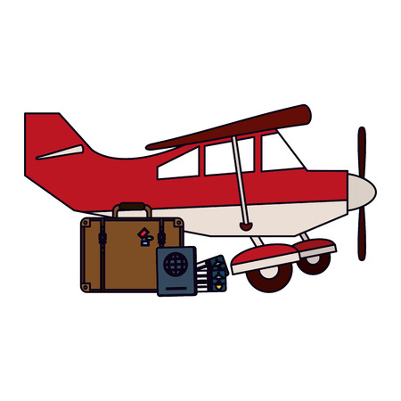 Small airplane with luggage vector illustration graphic design