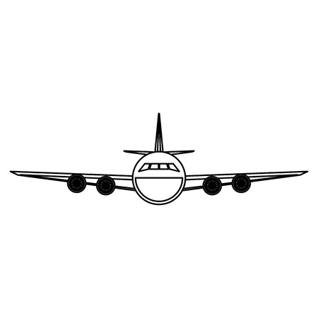 Jet airline airplane frontview vector illustration graphic design Çizim