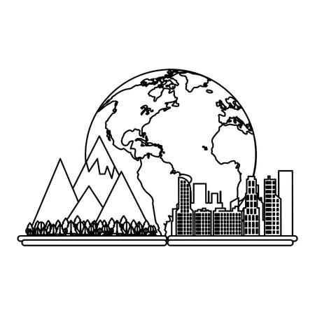 Cityscape over world scenery vector illustration graphic design
