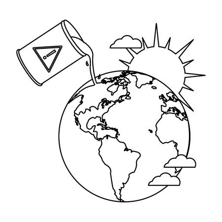 Oil barrel spilling on world vector illustration graphic design