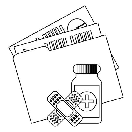 Medical folder and medicine bottle with band aids vector illustration graphic design 矢量图像