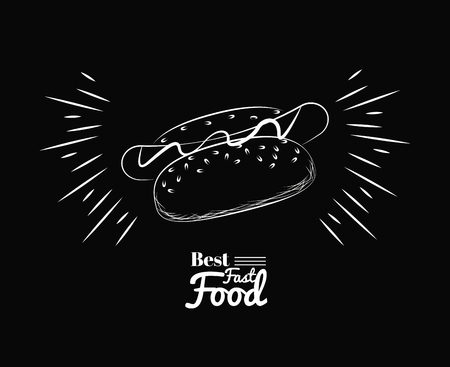 fact food icons best hot dogs black background vector illustration graphic design Illustration