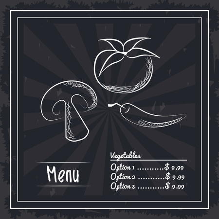 menu fast food three options pizza ingredients mushroom pepper tomato vector illustration graphic design