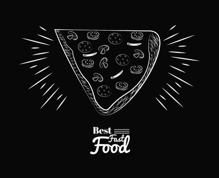 fact food icons best pizza black background vector illustration graphic design Stock Photo