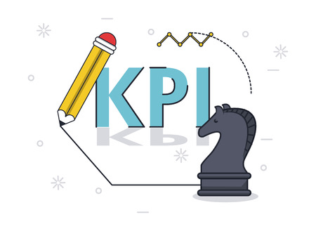 key performance indicator with chess horse and pencil vector illustration graphic design