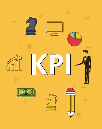 key performance indicator with man stadistics graphics pencil money vector illustration graphic design