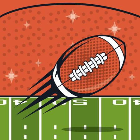 football balloon icon with gridiron in stadium vector illustration graphic design