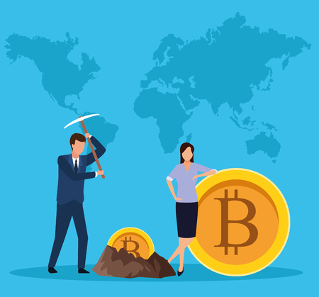 digital mining bitcoin couple with pickaxe world map background vector illustration graphic design