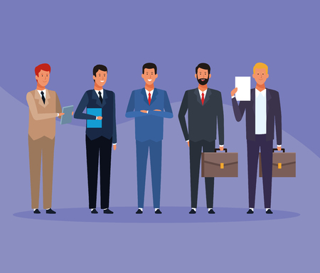 business men group with folder and briefcase in colorful background vector illustration graphic design