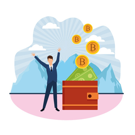 wallet virtual cryptocurrency businessman mountain landscape vector illustration graphic design