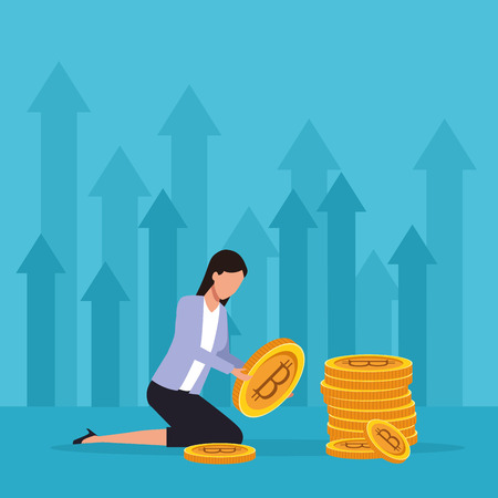 cryptocurrency businesswoman bitcoin with big coins vector illustration graphic design Çizim