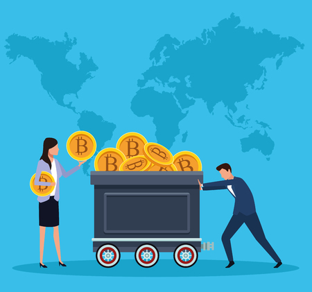 digital mining bitcoin couple with mining cart world map background vector illustration graphic design