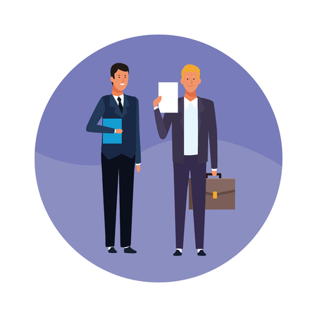 business men teamwork with folder and briefcase round icon vector illustration graphic design