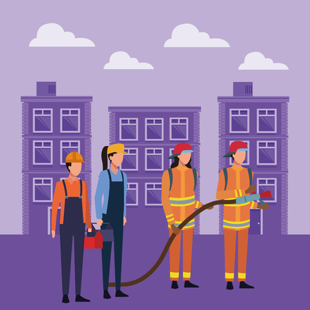 construction workers with toolbox and firefighters with hose over cityscape scenery vector illustration graphic design Illustration
