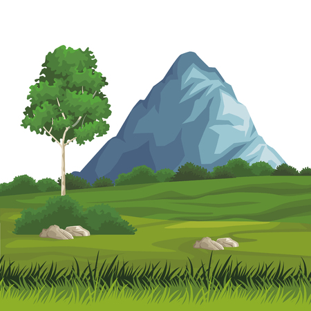 Beautiful landscape scenery with mountains vector illustration graphic design  イラスト・ベクター素材