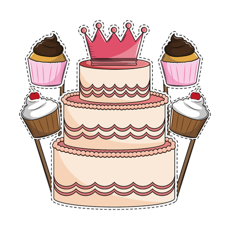 Birthday cake and cupcakes booth prop cut lines vector illustration graphic design