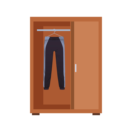 Sport clothes for male inside wooden closeth vector illustration graphic design