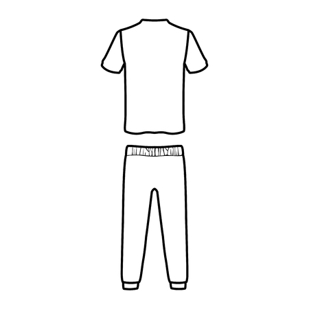 Male fitness sport clothes tshirt and pants black and white vector illustration graphic design