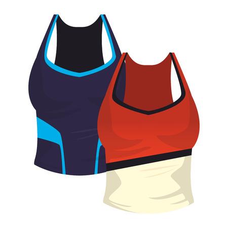 Two Women fitness blouses clothes vector illustration graphic design Foto de archivo - 127335472