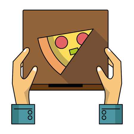 Pizza fast food delivery courier hand with box vector illustration graphic design Stock Illustratie