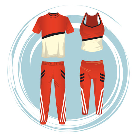 fitness sport clothes for male and female collection vector illustration graphic design