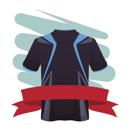 Male fitness sport tshirt clothes with blank ribbon banner vector illustration graphic design