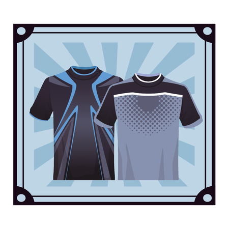 Two Sport tshirt for male over striped frame vector illustration graphic design 矢量图像