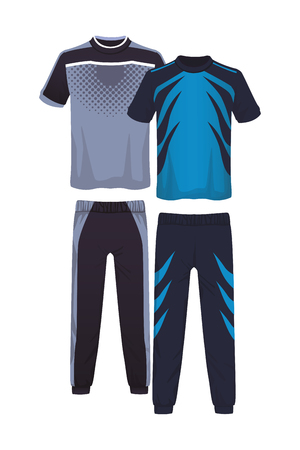 Male fitness sport clothes tshirts and pants vector illustration graphic design