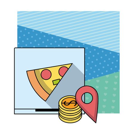 Pizza fast food delivery box coins and tracking over blue background vector illustration graphic design Stock Illustratie
