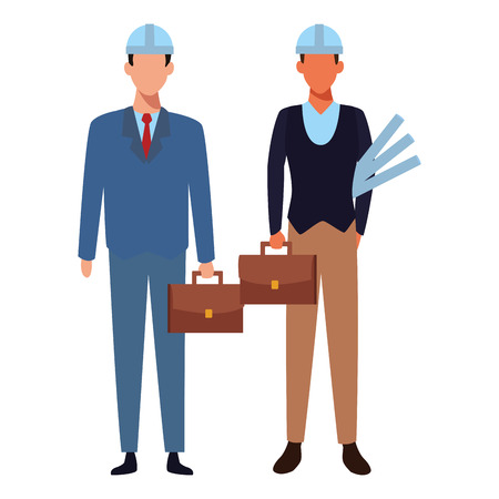 Jobs and occupations engineer and architect with plans and briefcases vector illustration graphic design