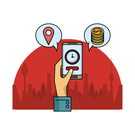 Online fast food order and delivery from smartphone over cityscape scenery vector illustration graphic design