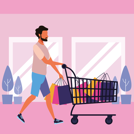 Young man pushing shopping cart with bags inside mall building vector illustration graphic design