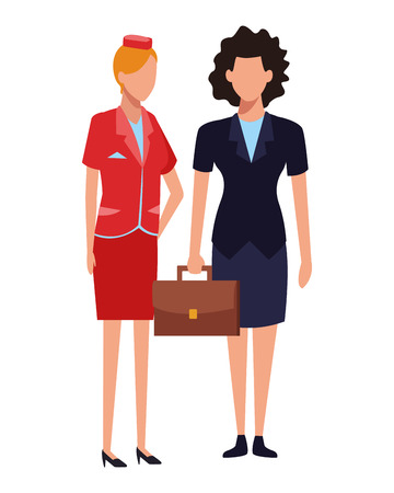 Jobs and occupations stewardess and businesswoman vector illustration graphic design