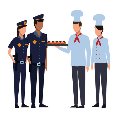 Chefs offering snacks to police officers vector illustration graphic design