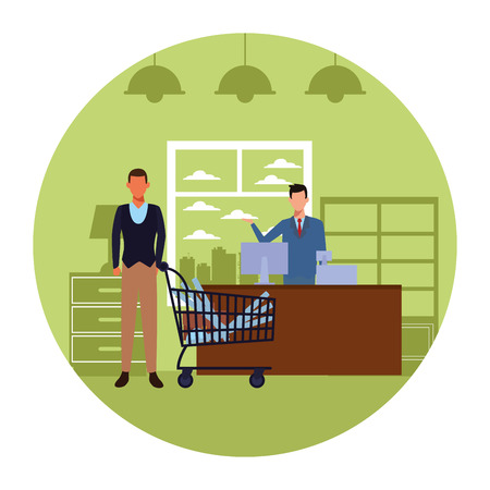 Jobs and occupations architect with plans inside shopping cart inside office building round icon vector illustration graphic design