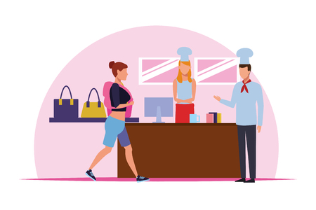 Chefs on restaurant cash register and woman walking with backpack inside mall building vector illustration graphic design Ilustrace