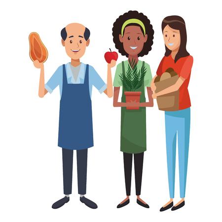 Gardener and groceries man with customer holding shopping bag vector illustration graphic design Vektorové ilustrace