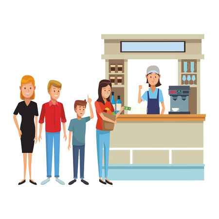 people waiting in line to order in coffee store vector illustration graphic design