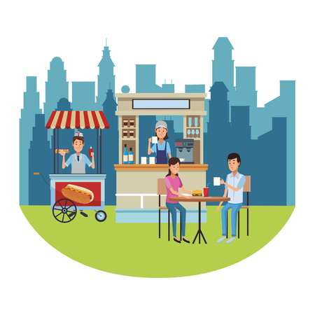 hot dog stand and coffee store with people on table at park over cityscape sunny day vector illustration graphic design