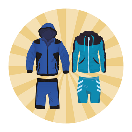 Sport fitness suit for male and female collection round icon vector illustration graphic design
