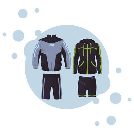 Sport-Fitness-Anzug für männliche und weibliche Sammlung runde Symbol-Vektor-Illustration-Grafik-Design