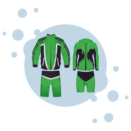 Sport-Fitness-Anzug für männliche und weibliche Sammlung runde Symbol-Vektor-Illustration-Grafik-Design Vektorgrafik