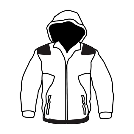 Male fitness sport jacket clothes black and white vector illustration graphic design
