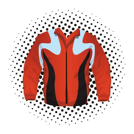 Women fitness jacket sport clothes pop art cartoon vector illustration graphic design