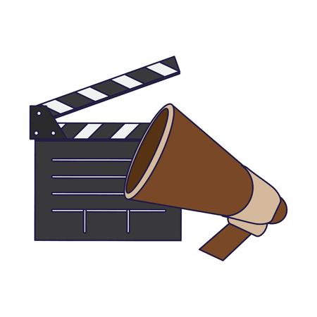 Cinema clapboard and bullhorn vector illustration graphic design