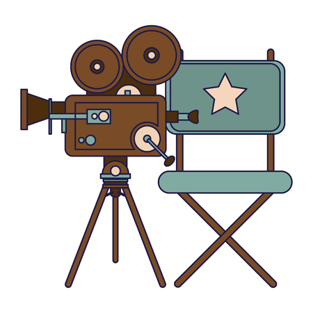 Vintage cinema media directors chair and camera vector illustration graphic design