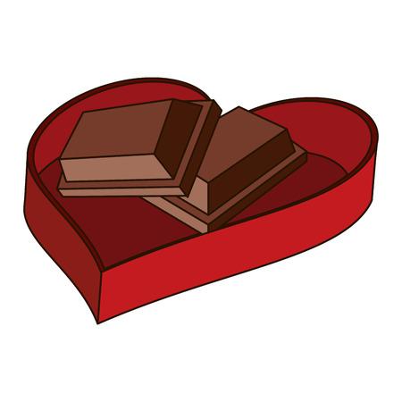 Set of chocolates inside heart shaped gift box vector illustration graphic design Illustration