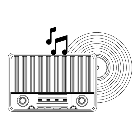 Old radio and vinyl music vector illustration graphic design