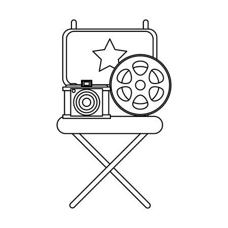 Vintage cinema media directors chair reel and camera vector illustration graphic design Illustration
